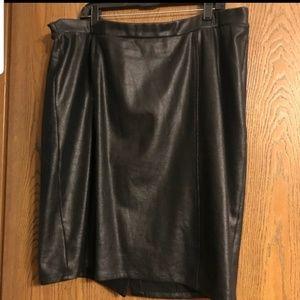 Lane Bryant size 20 Black leather look ponte skirt